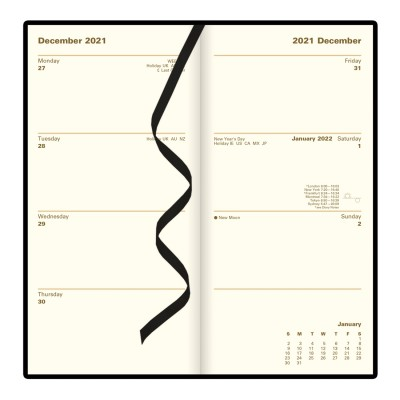 Belgravia Slim Week to View Leather Diary with Planners 2022