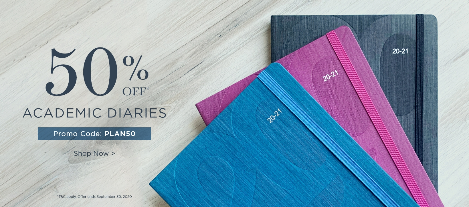 50% Off Academic Diaries with code PLAN50